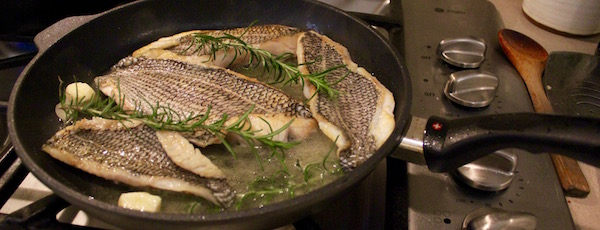 Pan Roasted Black Bass with White Wine and Rosemary