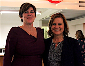 Laura Jens-Smith and Catherine Kent at Riverhead Democratic Headquarters on Main Street Tuesday evening.