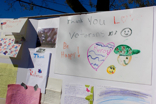Thank you cards from kids in the community at the Mattituck American Legion's Veterans Day ceremony.