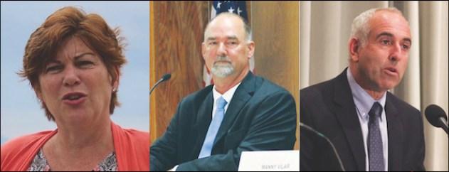 Riverhead supervisor-elect Laura Jens-Smith, East Hampton supervisor-elect Peter Van Scoyoc and re-elected Southampton Town Supervisor Jay Schneiderman.