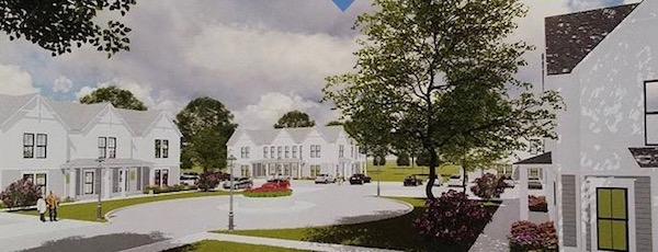 An artist's rendering of the proposed 50-unit workforce housing complex in Greenport.