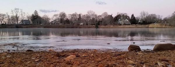 Otter Pond at the start of the big freeze, Sag Harbor