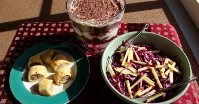 Sausage rolls, a red cabbage salad and a layered berry trifle make for the perfect make-ahead Boxing Day lunch.