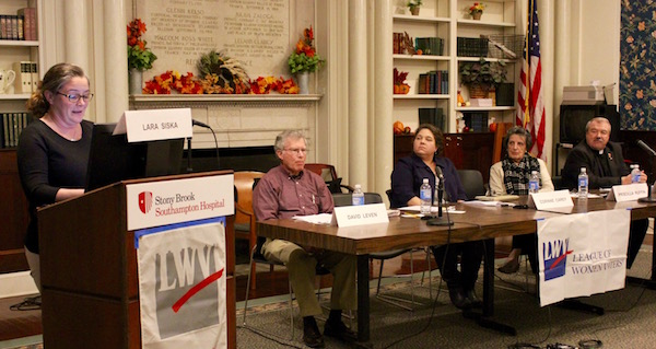 """Panelists at the League of Women Voters of the Hamptons' """"End of Life Choices & Decisions"""" forum Nov. 13."""