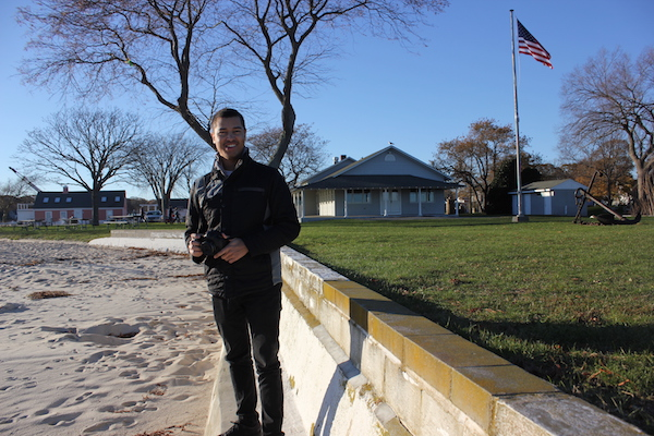 Jeremy Dennis at Founders Landing in Southold, the site of both the landing of English settlers in Southold and five unmarked indigenous graves.