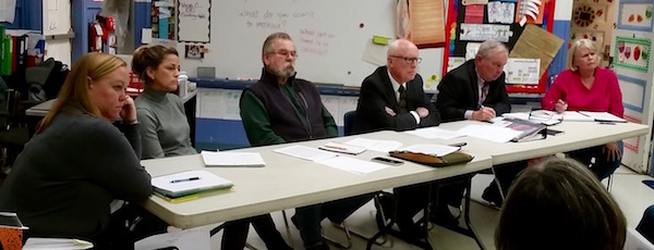 The New Suffolk School Board at Tuesday's meeting.