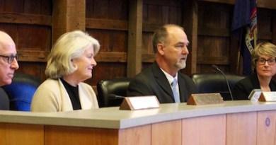 East Hampton Town Board members Jeff Bragman, Sylvia Overby, Supervisor Peter Van Scoyoc and Councilwoman Kathee Burke-Gonzalez at the board's Jan. 2 organizational meeting.