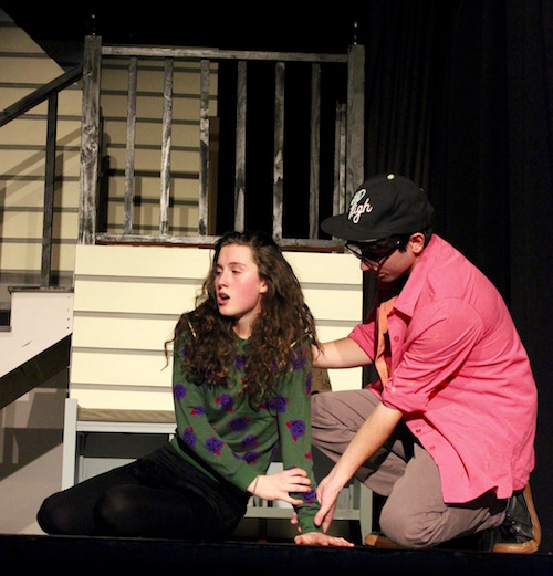 Ava Bianchi as Natalie and Eric Hughes as Henry discuss Natalie's strange family.