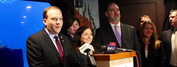 Congressman Lee Zeldin with local environmentalists and town supervisors at the Long Island Aquarium on Friday.