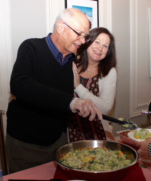 CAST Board member Mark Gagen and Food Pantry Manager Colleen Cummings served attendees at the dinner.