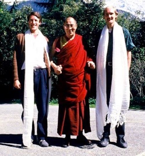 Dr. Blake Kerr, the Dalai Lama and John Ackerly in Nepal in 1987.