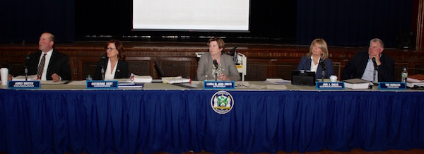 Riverhead Town Board members listened to the proposals.