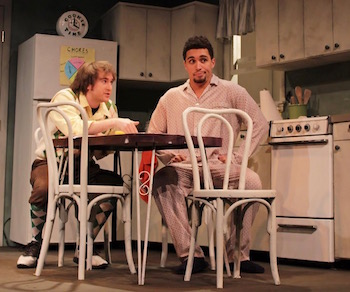 Barry (Spencer Scott) and Lucien (Dorian M. O'Brien) have a talk at the kitchen table.  |  Tom Kochie photo for HTC