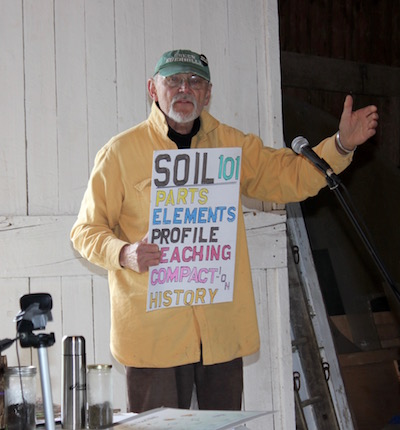 Thomas Stock read an ode to dandelions and gave a primer on Long Island soil.