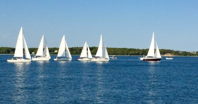 Big hopes in light air: At the start of the Wednesday night race around Robins Island in New Suffolk