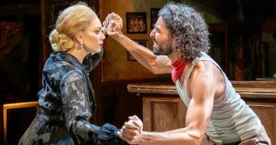 """Arianna Rosario as Eva Perón and Trent Saunders as Che in Bay Street Theatre's new production of """"Evita."""""""