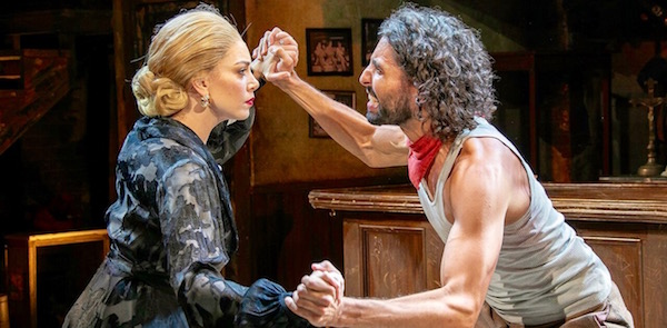 "Arianna Rosario as Eva Perón and Trent Saunders as Che in Bay Street Theatre's new production of ""Evita."""