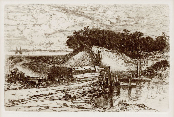 One of Mary Nimmo Moran's etchings of Gardiner's Bay