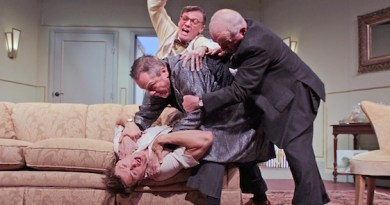 "Connor Antico, Edward Brennan, Matthew Con- lon and Terrence Fiore in HTC's ""A Comedy of Tenors."""