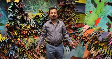 Artist Francisco Alvarado-Juárez installing the exhibition in late October.