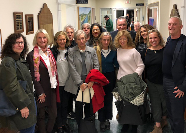 People who attended in support smiling through tears of joy after the announcement! L-R, Renee Shafransky, Jayne Young, Judi Caron, Allen Kopelson, Susan Mead, Robert Cohen, Phyllis Hollis, Giulia D'Agnolo Vallan, Nick Gazzolo, Jim Fox Minerva Perez, Emma Walton Hamilton, and Robby Stein | Sag Harbor Partnership phogo