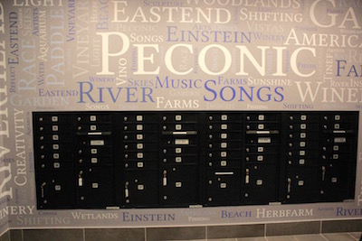 Mailboxes in the foyer of Peconic Crossing.
