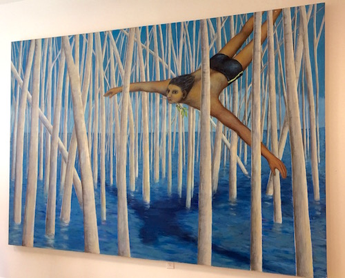 """Gina Gilmour's """"New Land"""" on display at the opening."""