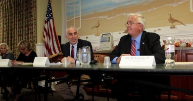 Jay Schneiderman (left) and John M. Kennedy (right) in a September debate sponsored by the Hampton Bays Civic Association.