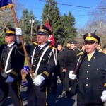 Members of the Southold American Legion and the North Fork NJROTC present the colors at the Legion's 2018 Veterans Day service.