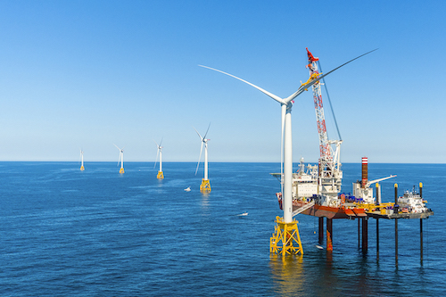Deepwater Wind's Block Island Wind Farm during construction | Deepwater Wind photo
