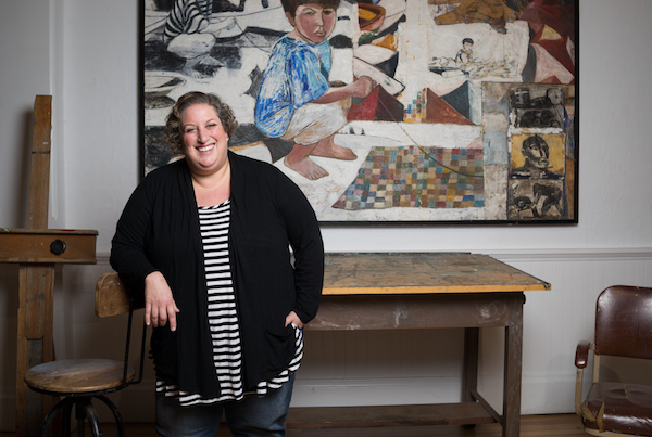 Curator Amy Kirwin in artist Paton Miller's studio space in the museum.  |  Madison Fender Photography