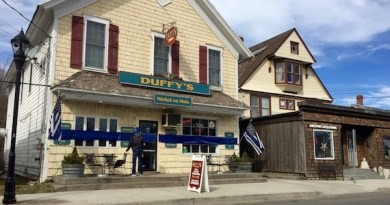 Blue banners in Jamesport recognize fallen NYPD Detective Brian Simonsen in preparation for his funeral Wednesday.