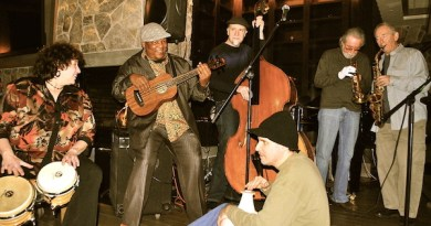 Bassist Bakithi Kumalo (with ukelele) and friends (pictured at the Hotel Indigo at a previous Winterfest) are just a few of the great musicians who lend their talents to the five-week festival.