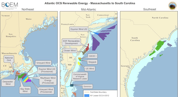 Numerous wind companies are in the process of leasing federal underwater lands off our shores and developing offshore wind farms there.