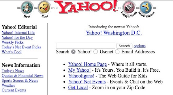 Yahoo!'s early search page.