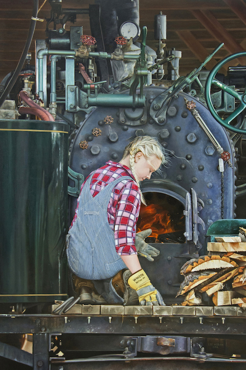 """Lee Alban's """"Lady of Steam,"""" Oil on Panel"""