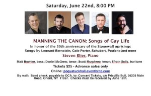 "Pianist Steven Blier presents ""Manning the Canon: Songs of Gay Life"" at Poquatuck Hall"