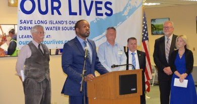 Long Island Water Conference Chairman Ty Fuller, a hydrogeologist, addressed the crowd at the kickoff.