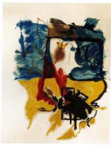 "Helen Frankenthaler's ""Beach Scene,"" Oil and crayon on canvas, 1961"