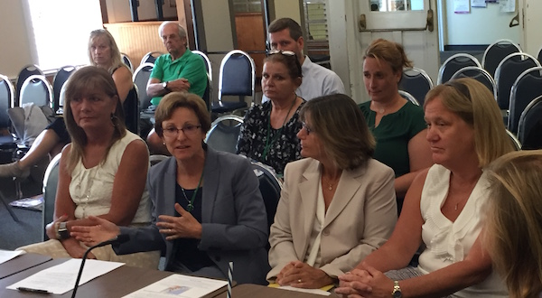 Karen McLaughlin, Kathy Rosenthal, Robyn Berger-Gaston and Juliet Frodella at the Southold Town Board's July 16 work session.