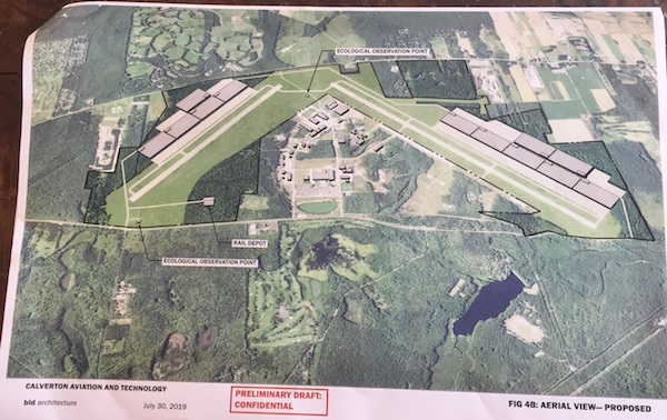 An aerial view of CAT's proposed development plan for EPCAL