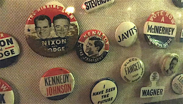 Campaign buttons at Tweeds