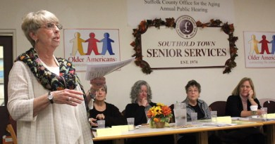 Retired Senior Volunteer Program Executive Director Peg Orsino discussed both Medicare and her program at the Southold Senior Center in Mattituck Oct. 25.