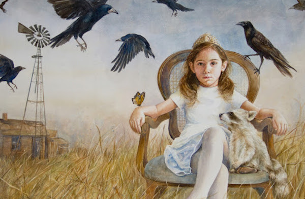 """Crown and Crows"" by Daniela Werneck, Watercolor on Clay Panel."