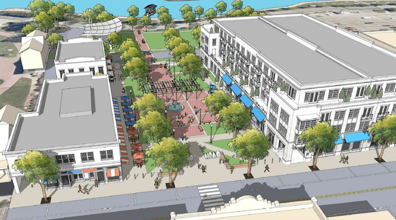 A rendering of the proposed town square.