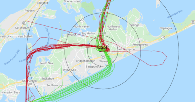 A map of the Eastern Region Helicopter Route showing the split usage of both routes in June, 2020. Green represents outbound helicopters and red represents inbound helicopters. | Courtesy Congressman Lee Zeldin's office