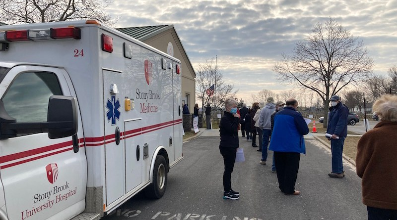 "Dr. Fauci's cavalry began to arrive on the East End this week in the form of Covid-19 vaccine clinics like one that delivered 1,000 doses of the Pfizer vaccine to Southold seniors on Thursday. Hear more at 10 a.m. this morning in ""Behind the Headlines"" on WLIW FM 88.3"