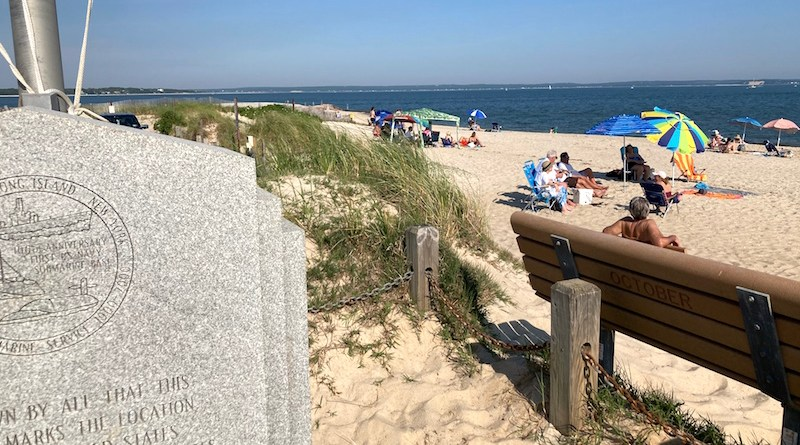 Beach weather arrives, New Suffolk.