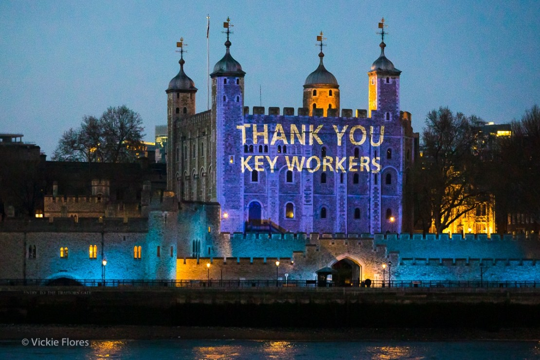 The Tower of London projects a message of thanks to key workers