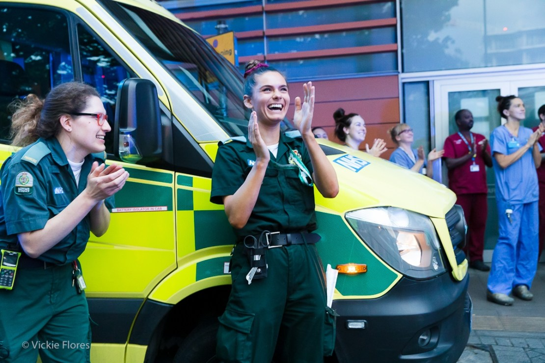 Paramedics join the clapping outside the Royal London Hospital